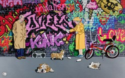 Queen, Duke and Chopper by Dylan Izaak -  sized 35x22 inches. Available from Whitewall Galleries